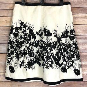 *Ann Taylor Loft Linen Lined Floral Skater Skirt